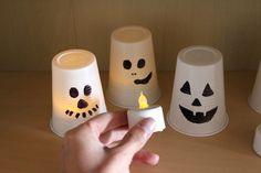 upcycling Kunststoffbecher-Windlichter Halloween