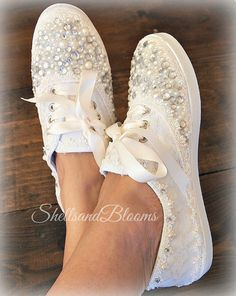 Wedding Bridal Sneakers Tennis Shoes - chic ivory or white lace - Rhinestone Pearls - eyelet trim - Shabby vintage inspired - diva bling Source by babyagustina chic Wedding Tennis Shoes, Colorful Wedding Shoes, Wedding Sneakers, Bridal Shoes, Wedge Wedding Shoes, Loafer Shoes, Shoes Sneakers, Shoe Crafts, Vintage Denim
