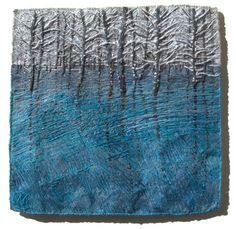 trees on a lake, needlework by Natalia Margulis