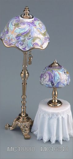 Victorian Lamps.  Love the swirled pattern and colors on the shades.