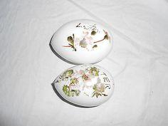 Vintage Milk Glass Hand Painted Easter Eggs Set of 2 Eggs | eBay