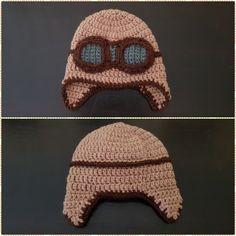 Gorro aviador a crochet - T: 3 a 6 meses