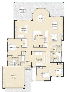 The Nautilus single storey home by Great Living Homes is a balance between modern design & innovation, ideal for family living in Mandurah & Perth 5 Bedroom House Plans, 3 Bedroom Floor Plan, Modern House Floor Plans, Dream House Plans, Narrow House Designs, Hamptons Style Homes, City Layout, House Construction Plan, Storey Homes