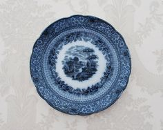 Antique Flow Blue Luncheon Plate Ridgways by RosaMeyerCollection