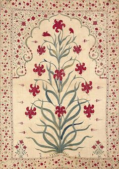 William Morris.  Hanging, silk embroidered cotton, c. 1650-1700