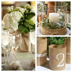 Burlap. You can turn any old vase or container into something gorgeously rustic and chic. Whether you are using burlap as a table runner just to accent or you're going all out with wrapped vases, candles, table numbers, etc. - this old timey textile turned chic trend is incredibly affordable.  Yes, so not exactly this, but burlap could be useful as a cheap fabric...mixed with more nautical rope...?
