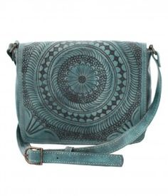 New Leaders In Leather Morrocan Square Crossbody Aqua At Lufli Lufliboutique