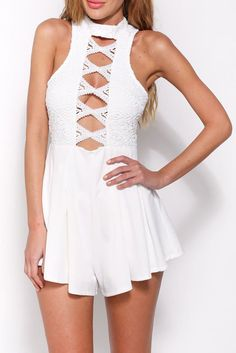 b3a7b611e2b0 White Perfect Date Flared Playsuit MB60596-1 Rompers Women