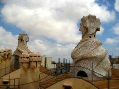 gaudi in barcelona - La pedrera Vicky Cristina Barcelona, La Pedrera, Antoni Gaudi, Places Ive Been, Mount Rushmore, Culture, Mountains, Architecture, Building