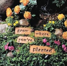 Integrate Art Into Your Garden with Poetry Stones. Kit includes five cobblestone-shaped forms of varying lengths.