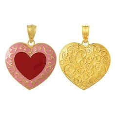 Amazon.com: 3d Gold Charm Pink & Red Heart With Scroll Reverse: Million Charms: Jewelry