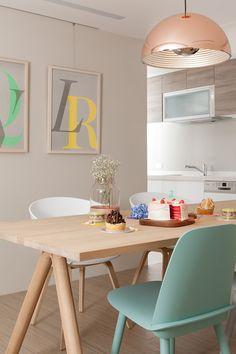 Beautiful Scandinavian Style Apartment - Love the Color Scheme - Soft Grey Walls + Pops of Colour!