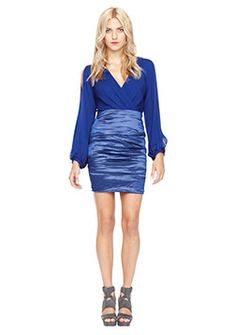 Nicole Miller Official Site | Techno and Silk Split Sleeve Dress