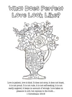 Free Coloring - Bible Journaling Scripture 1 Corinthians 13:4-6 Perfect Love by: anne harb