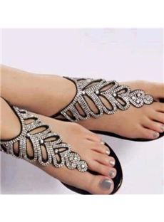 2960e3203 Shop Latest Amazing Rhinestone PU Flat Sandals on sale at Tidestore with  trendy design and good price. Come and find more fashion Flat Sandals here.