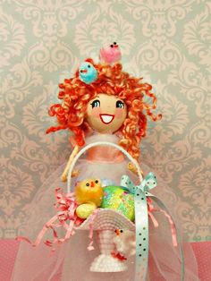 Easter tree topper Easter doll with Easter basket ooak art doll  Easter centerpiece toni kelly original Easter chicks vintage inspired doll by sugarcookiedolls on Etsy