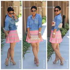 #ChevyChic #mimigstyle  Denim and Neon http://www.essence.com/essence-street-style-contest