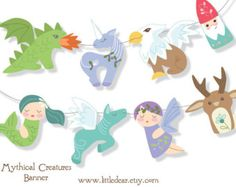 Printable Woodland Animals Banner Set 1 PDF digital by littledear