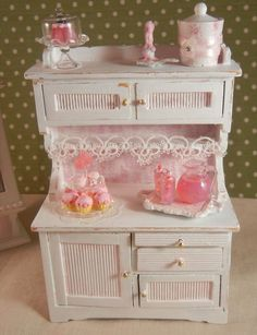 Shabby Chic Dollhouse Miniatures | Dollhouse Miniature - Shabby Chic Kitchen Hutch Display - 1/12th scale