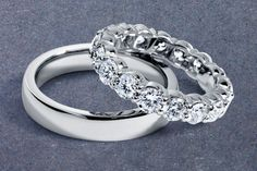 His and hers platinum wedding bands from @BlueNileDiamond.