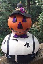 """JackABoo """"Bob Boo"""" Gourd Halloween Halloween Decor Signed 11x7"""