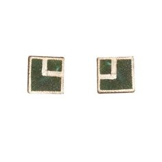 Patina on Brass Stud Earrings with Sterling Silver Post