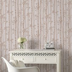 Graham & Brown Linden Rose Gold Branch Tree Shimmer Wallpaper