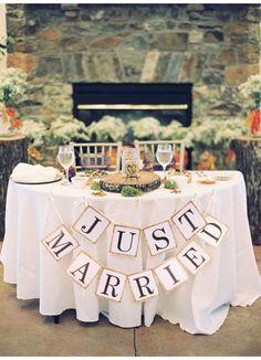 """Just Married"" Wedding Banner  DIY Wedding Shop   Budget Bride Blog   Bohemian Bride   Country Bride   DIY Party   Cheap Wedding Ideas   Wedding Advice and Tips   Wedding Trends"