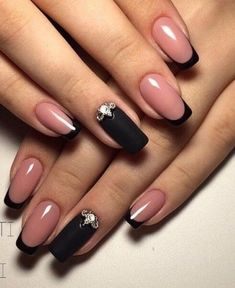Beautiful winter nails, Beyonce nails, Black french manicure, Black lacquer nails, Black nails with Black Nails, Pink Nails, My Nails, Black French Nails, French Hair, French Beauty, Matte Black, Nagellack Design, Nagellack Trends