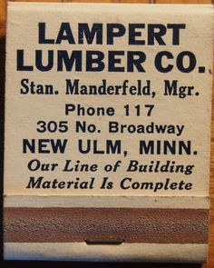 Lampert Lumber Co.  front-striker 20 stem #matchbook To order your business' own branded #matchbooks call TheMatchGroup @ 800.605.7331 or go to www.GetMatches.com today!