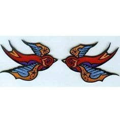 Pair of embroidered tattoo sparrow patches one left by Reedpunk, $7.00