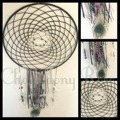 DREAMCATCHER 30cm hoop Features peacock feather,  Amethyst point,  gemstone,  shell and decorative beads,  unique handmade :)  $60 with $5 postage within Australia  Made to Order  www.facebook.com/chalcedonyrose