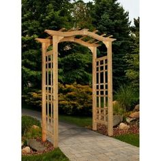 New England Arbors - Westwood Cedar Arbor - It features a classic arch top design and a 42 in. It is pre stained and the side panels are assembled making it an easy installation. Comes with a 1 year warranty. Diy Pergola, Pergola Shade, Pergola Kits, Gazebo, Pergola Ideas, Pergola Roof, Cedar Pergola, Cedar Garden, Garden Arbor