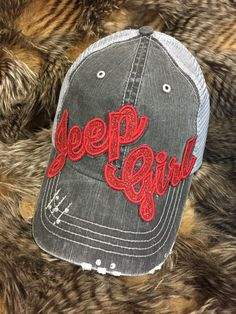 Jeep girl hat you choose letter color by redbranchcreations Jeep Wrangler Accessories, Jeep Accessories, Jeep Cars, Jeep Truck, Jeep Wrangler Lifted, Lifted Jeeps, Jeep Wranglers, Red Jeep, Jeep Camping