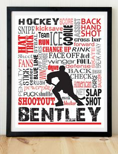 Personalized hockey print; Hockey poster; Customized hockey print; Hockey art; Hockey room decor; Hockey on Etsy, $10.00