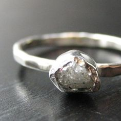Rough Diamond and Tiny Cut Diamond Ring by valkasinskas on Etsy, $155.00