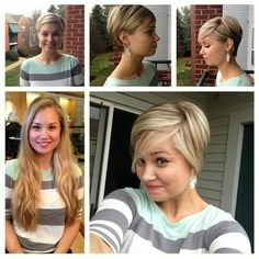 Cute grow-out pixie. Long To Short Hair, Short Hair Cuts, Short Hair Styles, Mom Hairstyles, Cute Hairstyles For Short Hair, Love Hair, Great Hair, Pixie Lang, Haircut And Color