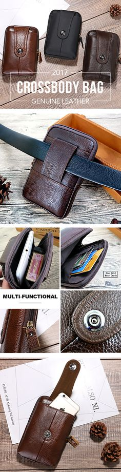 US$8.22 Genuine Leather 5.5 Inch Cellphone Waist Bag Casual Vintage Crossbody Bag For Men