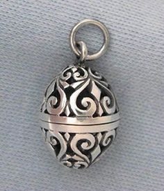 Sterling Silver Filigree Egg Pendant Aromatherapy Vinaigrette Prayer Locket Box | eBay