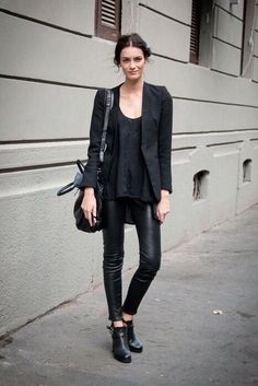 leather trousers + black blazer + black tee