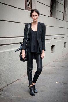 leather trousers + black blazer + black tee