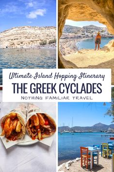 When you think of the best island chains in the world Greece should be at the top of the list! Our own Greek island hopping itinerary covered the course of three weeks as we visited 7 islands. In this post you'll find everything to plan the best Greek island hopping itinerary. This includes the cost, routes, budget, and a complete breakdown of what to see and do in each place. Mykonos, Santorini, Best Greek Islands, Greece Islands, Greece Travel, Travel Europe, Travel Destinations, Greek Island Hopping