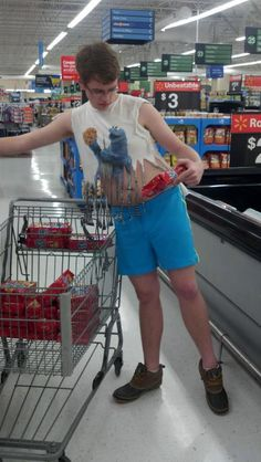 mukluks, swim trunks, and a shredded cookie monster shirt... and a lot of cookies.