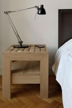 Italian bedside Table with Drawer - Natural Finish