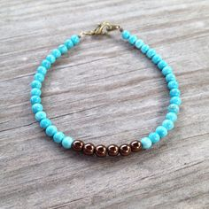 Bronze on Turquoise Simple Beaded Bracelet on Etsy, $10.00