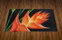 Hand Painted Tropical Flower Floorcloth Rug/Mat by KellyGoodbrad, $80.00