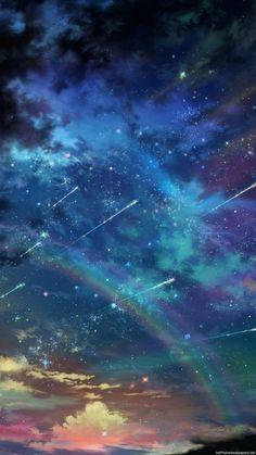 【人気7位】ファンタジックな虹と流れ星【イラスト】