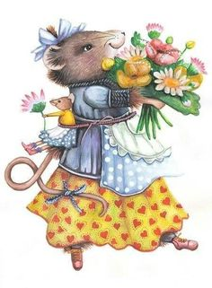 Celebrate Each New Day (Search results for: Vera the mouse ) Funny Animals, Cute Animals, Mouse Illustration, Marjolein Bastin, Anne Geddes, Nature Artists, Cute Mouse, Dutch Artists, Beatrix Potter