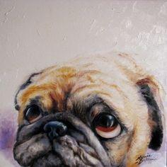 Pug Love Original Art by Marcia Baldwin Teacup Pug, Pug Mug, Teacup Chihuahua, Baby Pugs, Pug Pictures, Cute Pugs, Funny Pugs, Pug Puppies, Pug Love