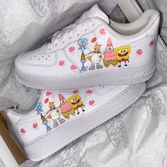 Spongebob Air Force by thecustomsneakerco Cute Nike Shoes, Cute Nikes, Cute Sneakers, Sneakers Nike, Air Force One Shoes, Nike Shoes Air Force, Air Force Sneakers, Jordan Shoes Girls, Girls Shoes